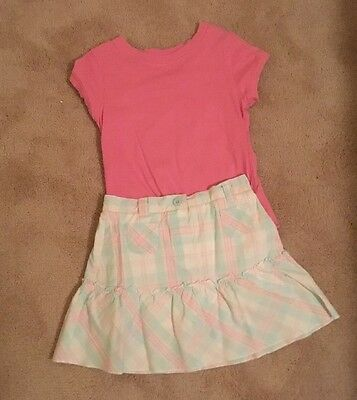 Carter's size 6x pink/blue/white skirt and pink top