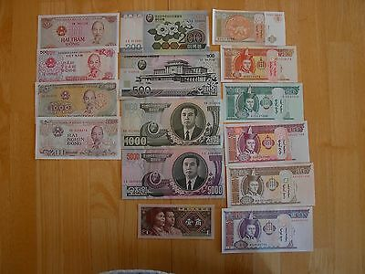 Lot of 15 different UNC world notes