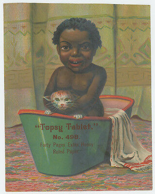 Black Americana Topsy Kid In A Tub With Cat Trade Card