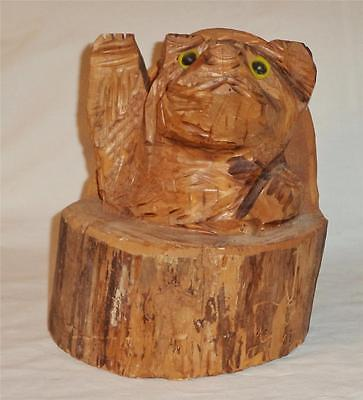 Rustic Hand Carved Bear Wood Round Rustic Decor Sculpture Chainsaw Wood Folk Art