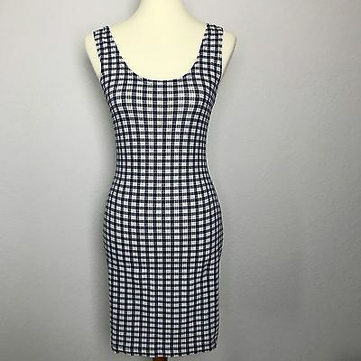 Vintage Women's In Charge Dress Blue & White Check Size Medium
