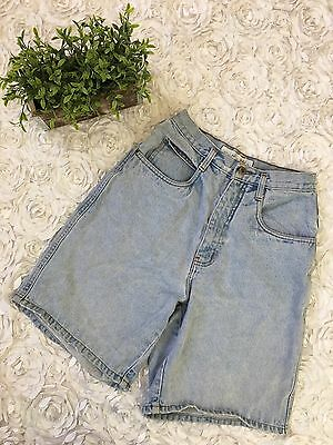 Vintage Womens Anchor Blue High Waist Light Wash Cotton Mom Jean Shorts SZ 7