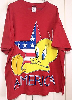 Vtg Tweety America T Shirt XL Looney Tunes 1996 Red
