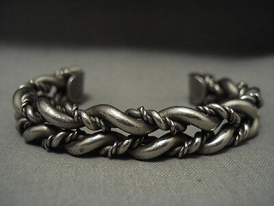 Extremely Intricate Vintage Navajo 'woven Sterling Silver' Bracelet Old