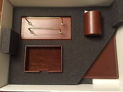 Munari Leather Desk Set Brand New With Box Made In Italy