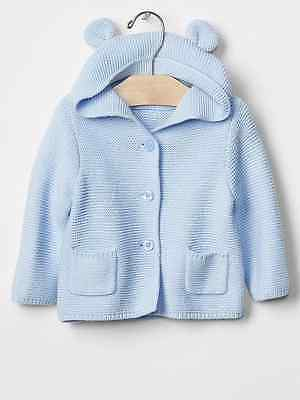 NWT Baby Gap Size 3 6 12 18 24 Months Light Blue Spring Bear Ear Hooded Sweater