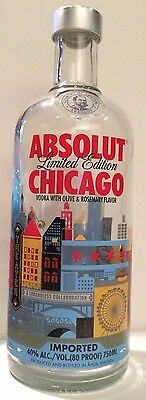 Absolut Chicago - Limited Edition Collectors Bottle - Empty 750 ml Bottle