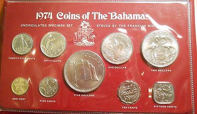 1974 Coins Of The Bahamas 9 Coin Brilliantly Uncirculated Specimen Set
