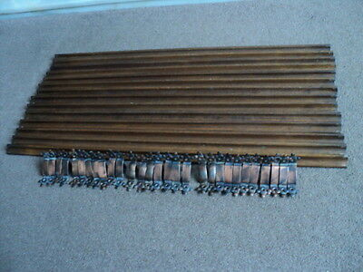 14  SUPERB VINTAGE SOLID OAK STAIR CARPET RODS 28.5 inch & 28 COPPERED  BRACKETS