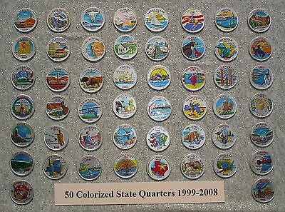 50 Colorized State Quarters 1999-2008 - Metallic Silver U.S Coin Collection Set