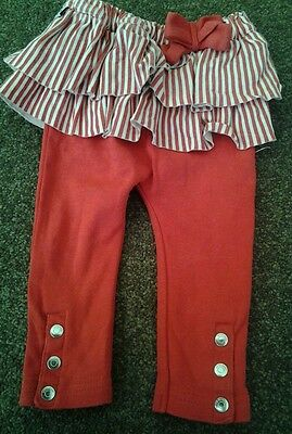 SoSooki red leggings with red/white ruffles size 00