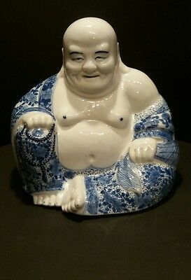 """Vintage 9"""" Porcelain Chinese Happy Laughing Buddha Blue and White Famille Rose ?"""