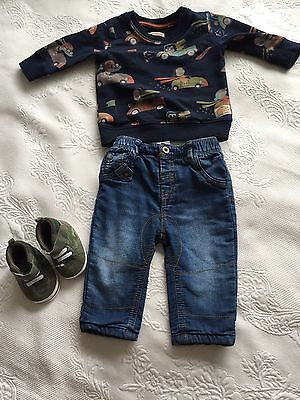 Baby Boy Set 3-6 Months Top& jeans NEXT Shoes F&F