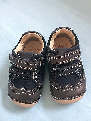 Clarks Baby Leather Shoes, Navy Blue, Size 4 (4F)
