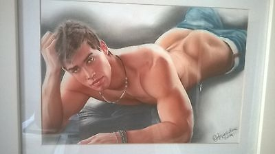 Original art pastel, male nude, gay interest
