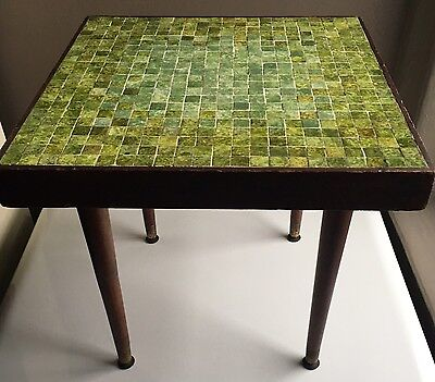 Mid Century Modern Mosaic Tile Top Side Table Danish Coffee Kagan Martz