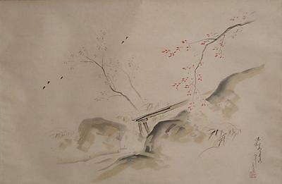 #7565 Japanese Tea Ceremony Scroll: Mountain Stream & Bamboo Water Pipe