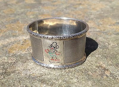 Antique Sterling Silver Napkin Ring Birmingham 1935 Micky Mouse Disney