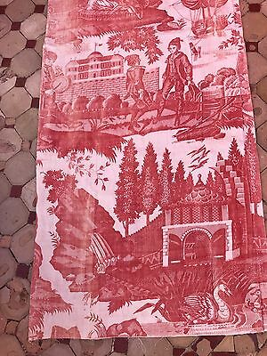 Antique C 1800s French toile De Jouy Fabric Panel For Collectors