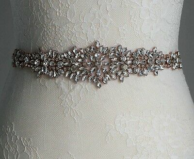 Bridal Bridesmaid Prom Dress Encrusted Crystal Rose Gold Appliqué For Sash Belt