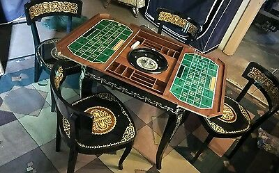 Black Lacquer Game TABLE Roman Motif Excellent. Set Made In Italy' Reduced 25%