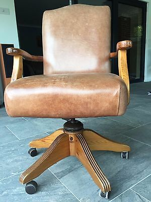Antique style leather look desk chair