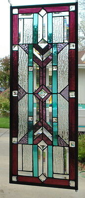 """Stained Glass window Transom or Sidelight hanging 29 1/2 X 10 3/4"""""""