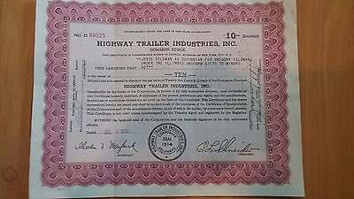 Old Stock Certficate Highway Trailer Industries Inc Ca 1960