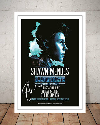 Shawn Mendes Illuminate 2017 London Concert Flyer Autographed Signed Photo Print