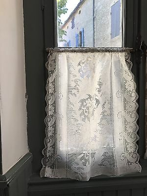 """Antique French Small Scalloped Edges Cotton Lace Curtain 24""""/28"""""""