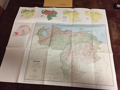1972 Vintage CIA, Central Intelligence Agency Map of Venezuela