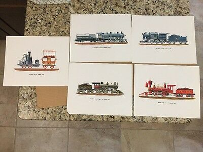Lot Of 5 1963 Railroad Litho Rich Schlemmer Southern Pacific New York Central