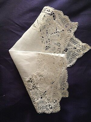 """Antique Wedding Hankerchief Hand Made Lace Square 8""""1/4 Impeccable"""