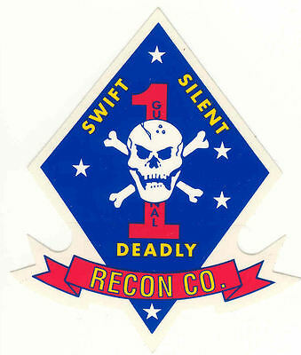 2 Each Usmc Force Recon Military Decal Top Quality Mylar