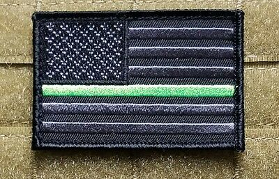 US Flag Thin Green Line Morale Patch Military Family Support Veteran Army USMC