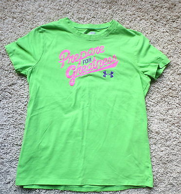 Under Armour Green/purple Loose Fit Heat Gear Girls Shirt Sz Youth Large