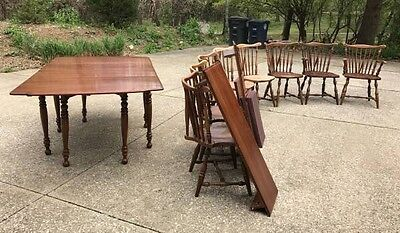 Thomasville Dining Room Set Cherry Table With Pads 8 Windsor Chairs 3 Leaves