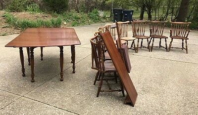 Thomasville Solid Cherry Dining Room Set Table Pads 8 Windsor Chairs 3 Leaves