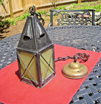 Antique Mission Arts & Crafts Brass Hanging Light with Slag Glass Gothic