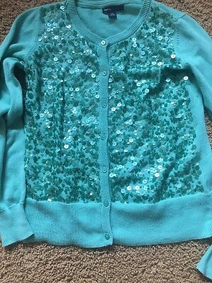 Gap Kids Green Sequin Cardigan Sweater XXL 14-16 Long Sleeves Spring Top