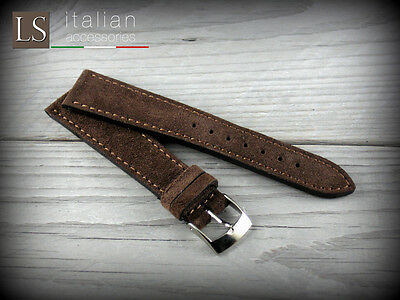 18 20 22 Genuine Italian Leather LS SUEDE Vintage Watch Strap Band Coffee Brown