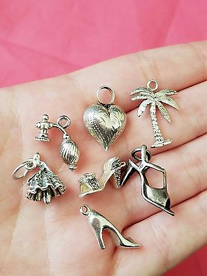 Lot of Vintage Sterling Silver Charms, Highheel, Perfume, Shoe, Estate Jewelry