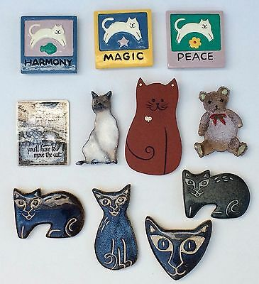 Lot of Ten Charming Cat Magnets: Ceramic, Enameled Copper, Stoneware 1970s-90s
