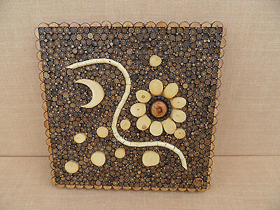 VINTAGE Asian Circular Wood and Twig Slice MOSAIC of Nature Wall Art