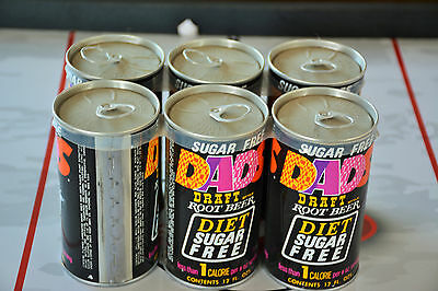 Vintage Complete Dads Root Beer Diet Sugar Free Soda Cans 6 Pack Awesome Shape N