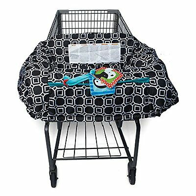 Shopping Cart Baby Sit Secure Safety High Chair Cover Squares Black White Toys