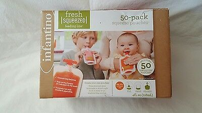 Infantino Fresh Squeeze Station Pouches 50 Plain Baby Food Pouch Set * NEW*