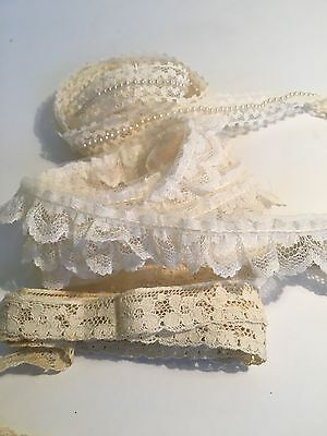 Lot Of  3 Styles Old Vintage  Linen Lace Trim For Sewing