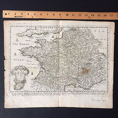 1669 Rare Original Map Of France By Blome Copied From Nicolas Sanson.