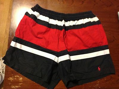 Men's Ralph Lauren Polo Swim Trunks Size L Red, White And Blue lined